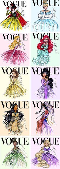 Disney Princess Vogue Covers by Hayden Williams #Drawings