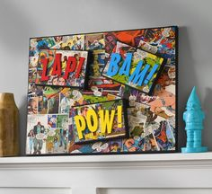 Make a comic canvas with wood letters and Mod Podge