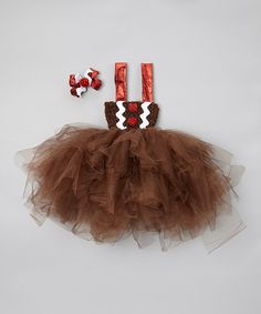 Take a look at this Brown Gingerbread Tulle Dress & Bow Clip on zulily today!