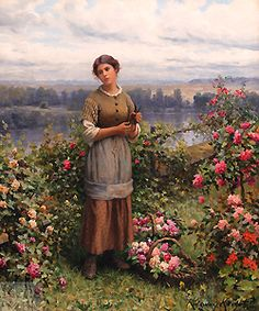 Julia Gathering Roses by Daniel Ridgway Knight