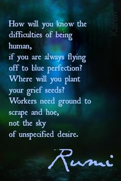 How will you know the difficulties of being human, if you are always flying off to blue perfection? Where will you plant your grief seeds? Workers need ground to scrape and hoe, not the sky of unspecified desire. -Rumi