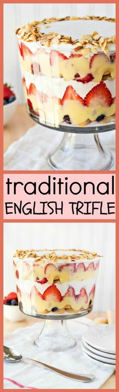 This traditional English trifle is a layered dessert made with ladyfingers soaked in sherry, fresh berries, vanilla pudding, and fresh whipped cream. The combination of these flavors and textures will blow you away! Trifle Dish, Trifle Desserts, Trifle Recipe, No Bake Desserts, Easy Desserts, Delicious Desserts, Yummy Treats, Sweet Treats, Dessert Recipes