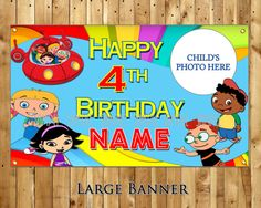 4 ft x 2.4 Little Einsteins birthday party banner personalized decorations vinyl backdrop