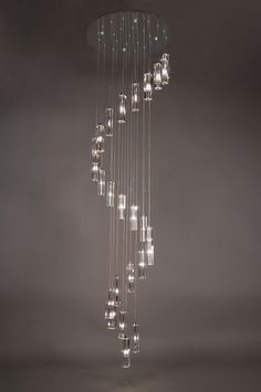 Staircase Lighting Ideas, High Ceiling Lighting, Lounge Lighting, Entryway Light Fixtures, Cool Light Fixtures, Entryway Lighting, Hanging Chandelier, Chandelier Pendant Lights, Ceiling Pendant