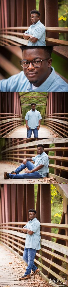 This light blue shirt was the perfect compliment for the natural tones in the bridge at this fall senior portrait sesssion!