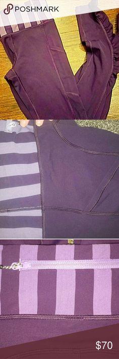 Lululemon Athletica Leggings NBW Lululemon Athletica Plum with Stripped Plum & Light Purple Waist. Full Length Inseam. Full-On Luon Fabric. Hidden Side Pocket. Never been worn. lululemon athletica Pants
