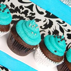 Teal & Brown Cupcake Inspiration! But make it teal and black.....?