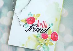Make It Monday #204: Watercolor Smooshing - Hello Friend Card by Betsy Veldman for Papertrey Ink (March 2015)