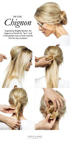 To create your own chic chignon, start with straight hair and tease to create volume. Use hairpins to shape the teased hair at the top of your head, making it high and rounded. Then take both sides of your hair and attach them to the middle of the back of your head, where you've already started to attach the top hair. Collect the rest of your hair and carefully twist. Lastly, take your twisted hair and roll it to the lower back of your head, securing with a few bobby pins.