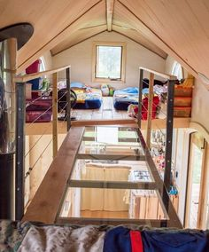 Tiny House Living: Here is a simple, creative solution if you need more loft space. What about two lofts with a cool mini-skywalk in between? - 7 Tiny House Lofts I Would Totally Sleep In Tiny House Bedroom, Tiny House Loft, Best Tiny House, Tiny House Living, Tiny House Plans, Tiny House Design, Tiny House On Wheels, Tiny House Family, Living Room