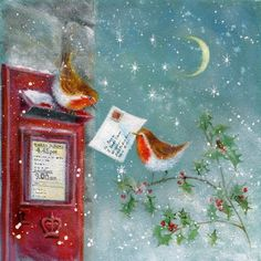 Christmas Birds and Christmas Letters Illustration by Jan Pashley