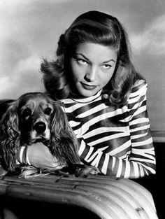 Lauren Bacall and cocker spaniel