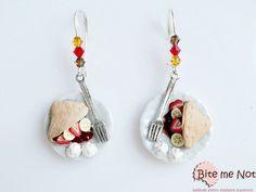 Polymer Clay Jewelry Chocolate Crepes Hook  Earrings, Mini Food, Handmade Earrings, Polymer Clay Sweets, Miniature Food, Kawaii Jewelry