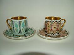 Vintage 1960's Arabia Finland Sommit Komp 'Milla' Pattern Demitasse Cup & Saucer Rare Gold Lined Mid Century Modern Mad Men Scandinavian. £40.00, via Etsy.