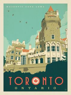 Toronto, Ontario – Majestic Casa Loma Postcard - Just Voyage Usa, Voyage Canada, Vintage Advertisements, Vintage Ads, Posters Canada, Tourism Poster, Photo Vintage, Retro Poster, Travel Illustration