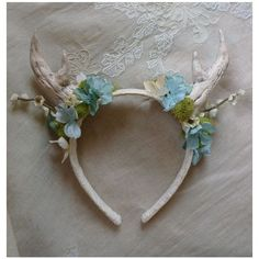 Antler Floral Headband deer fawn woodland whimsical wedding fantasy... ❤ liked on Polyvore featuring accessories, hair accessories, hair band accessories, bridal flower hair accessories, bride headband, flower headwrap and vintage hair accessories