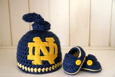 Notre Dame Knotted hat and loafer set by cottoncorner on Etsy, $45.00