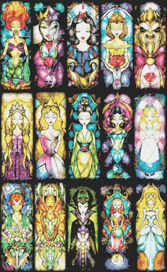 "Disney best characters - stained glass - 21.64"" x 35.21"" - Cross Stitch Pattern Pdf C748"