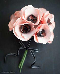 manualidad bouquet de anemonas