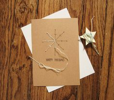 Sewing christmas cards paper embroidery 39 ideas for 2019 Homemade Christmas Cards, Christmas Cards To Make, Xmas Cards, Simple Christmas, Homemade Cards, Handmade Christmas, Christmas Crafts, Christmas Trees, Diy Holiday Cards