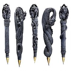 Design Toscano Gargoyles and Dragons Sculptural Pen (Set of 5)