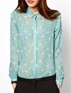 Blue Long Sleeve Dogs Print Sheer Blouse buttoned all the way!