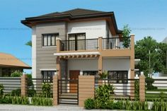Marcelino Model is a a four bedroom two storey house that can be built in a x meter lot. With Patio at the front, the Balcony at the second floor serves as a shade. The living room is 25 sq. which opens to the dining and kitchen. 3 Storey House Design, Two Story House Design, Duplex House Design, Small House Design, Modern House Design, Modern Houses, Four Bedroom House Plans, Philippines House Design, Two Storey House Plans