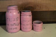 Pink Mason Jars, Baby Shower, Reveal Party, Set of Mason Jars, Bathroom Set, Painted and Distressed Jars, Upcycled and Repurposed Home Decor by DesignCreateInspire on Etsy