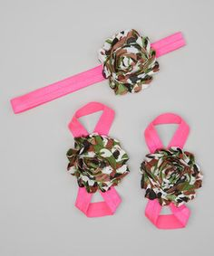 Dun Up Designs Pink & Camo Flower Headband & Barefoot Sandals Set by Dun Up Designs #zulily #zulilyfinds