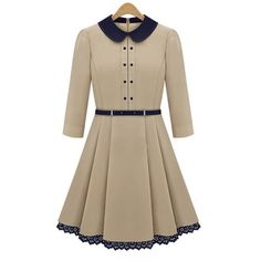 lovely feminine classic~~England Style double-breasted Beige Dress