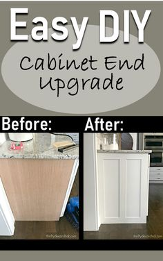 Easy DIY plans for upgrading builder-grade cabinets. Kitchen Redo, Kitchen Remodel, Kitchen Design, Kitchen Ideas, Kitchen Backsplash, Easy Kitchen Updates, Kitchen Soffit, Update Kitchen Cabinets, Pantry Design