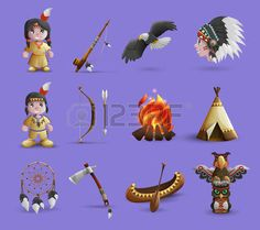 native american child: Native american cartoon  icons set with figurines in national dress and hunting equipment isolated  vector illustration