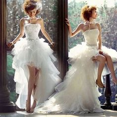 Romantic Wedding Dress,Short Front Long Back Prom Dress,Sweetheart Prom Dress