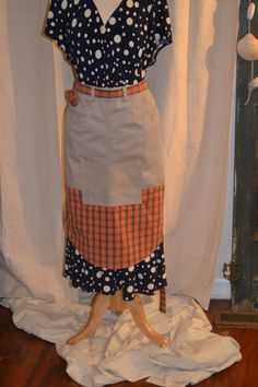 Apron Upcycled from Men's Pants/Shirt by AcornHillHome on Etsy, $24.00
