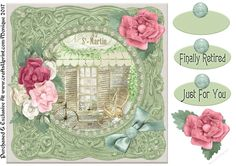 Romantic Garden Card Front Green  by Monique Exclusive CUP Designs 1 sheet to print.