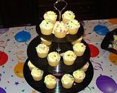 WANT!!!    Music Lover Vinyl Record 3 tier dessert serving stand centerpiece 70s 80s party. $39.00, via Etsy.