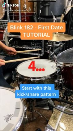 """This is a basic drum lesson that breaks down the bridge drum beat in the song """"First Date"""" by Blink 182 using a DW drumset and Paiste cymbals Drum Sheet Music, Drums Sheet, Music Lessons For Kids, Music Lesson Plans, How To Play Drums, Learn Drums, Samba Drums, Nick Adams, Percussion Drums"""
