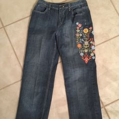 Brand New floral design denim! Brand New (NWOT) beautiful unique denim pants! The pants are absolutely gorgeous with stretch! Such a fantastic fashion piece with the floral design on the one side! Perfect for any day or night! A must have fashion piece! Talbots Jeans Ankle & Cropped