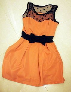 I want this dress! I like that it's orange but i think i it would appreciate it a little bit more in another color. (probably a nice pastel color for springtime) just my personal preference :D still a beautiful dress though ^_^