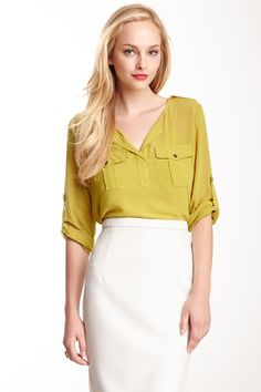 Pencil skirt with a light blouse. My go-to. I can't have enough pencil skirts