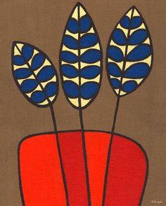 """Burlap Botanical Delphinium Orange"" modern home decor by Lisa Dejohn for GreenBox Art + Culture $159"