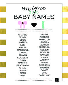 UNIQUE BABY NAMES from www.thelifestyledco.com