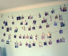 Photo Wall! Perfect for dorms or rooms you dont want to have bulletin boards in.