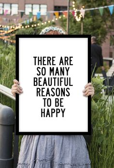 "Inspirational Print Typography Art ""There Are So Many Beautiful Reasons to Be Happy"" Letterpress Style Poster Black and White Home Decor"