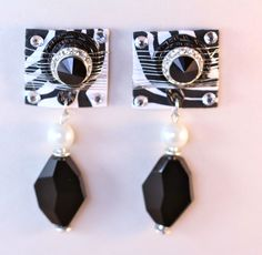 Black and White Spring 2013 Statement Earrings, Drop Earrings, White Springs, Signature Collection, Black N White, Making Ideas, Handcrafted Jewelry, Jewelry Crafts, Collections