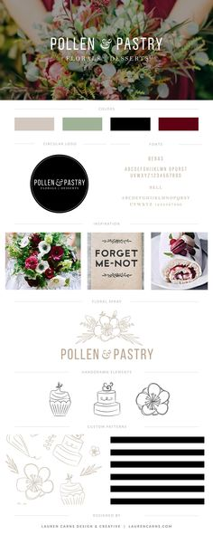 Pollen & Pastry Brand Board | Lauren Carns Branding & Design Services | classic, organic, and earthy branding for a florist and culinary service, complete with hand drawn elements and black and white details.
