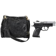EAA Corp Pavona Polymer Compact Pistol and Purse Set 999512 Witness Pavona Pistol 9mm Luger 3.6 Barrel 13 Rounds Chrome Slide Polymer Grip Charcoal/Silver Two Tone Finish 999404 with Reptile Messenger Purse Suede Leather Black 999840