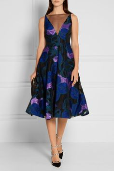 Multicolored fil coupé, black organza Concealed hook and zip fastening at back…