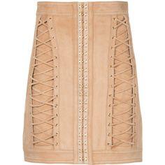 Balmain lace-up mini skirt (€2.750) via Polyvore featuring skirts, mini skirts, brown, high waisted mini skirt, short skirts, beige mini skirt, embellished mini skirt und leather skirt
