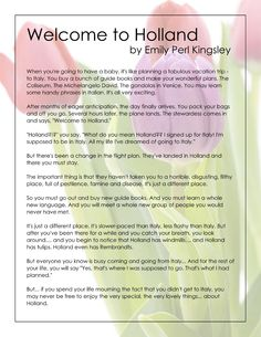 This has always been my favorite writing about Kids with disablities. Emily Pearl Kingsley was a writer for sesame street and has a child with Down Syndrome.